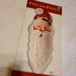 Fitz And Floyd Snack Therapy Santa tray, EUC